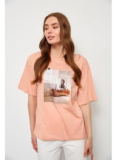Setre Ekru Kısa Kol Baskılı T-Shirt Somon